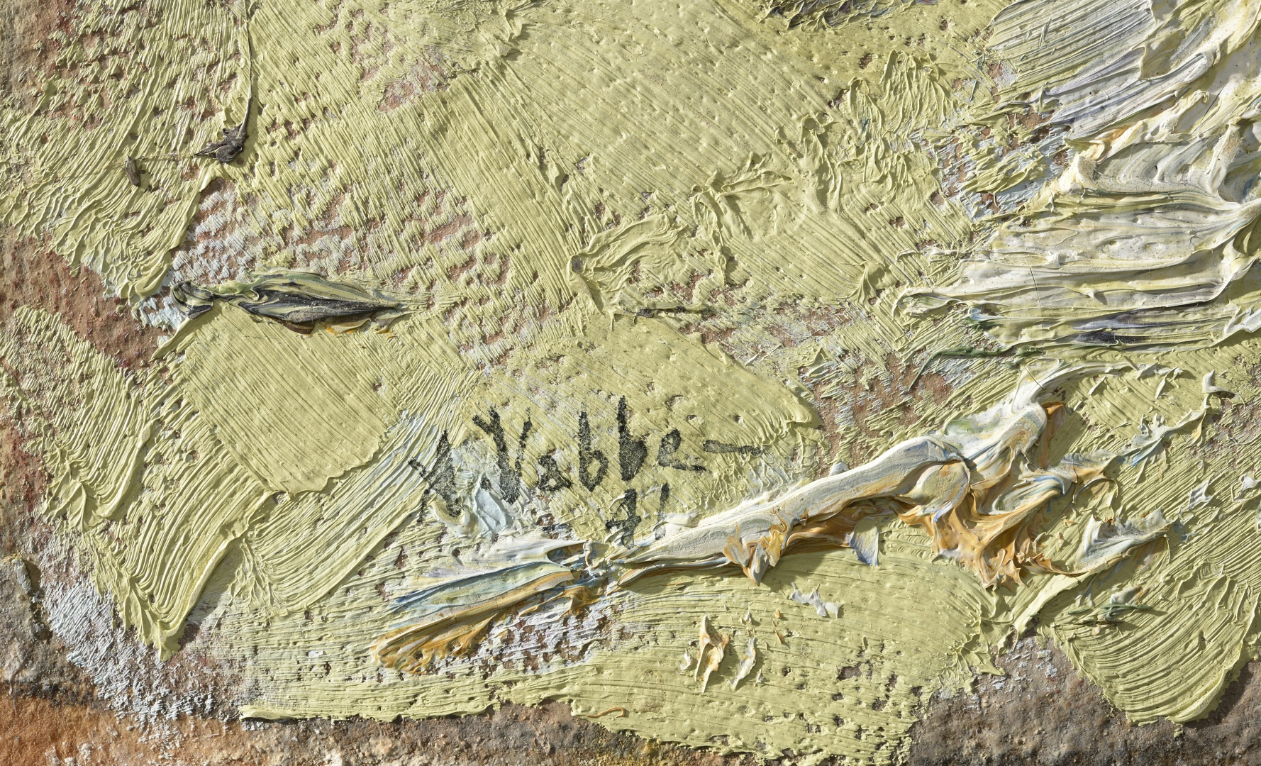 fig 10. Detail photo, pasty layer of paint. A.Vabbe Landscape. EKM M 4806.