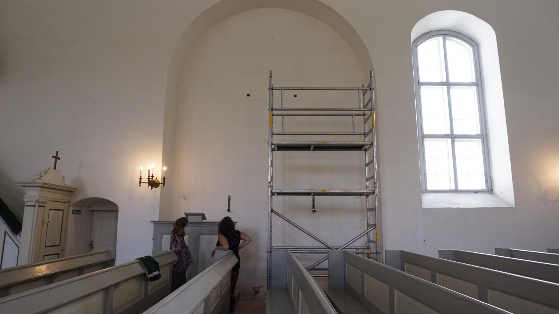 fig 16. Preparation of the place where it was planned to hang the drawing up.