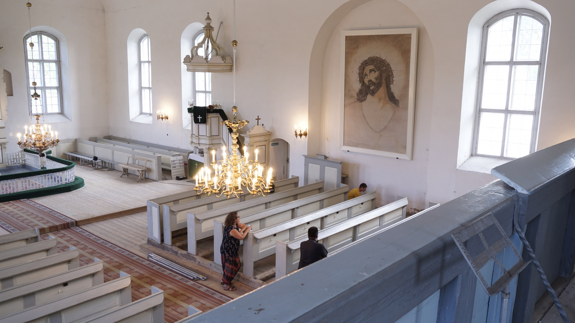 fig 17. The portrait drawing on the wall of the church after conservation.