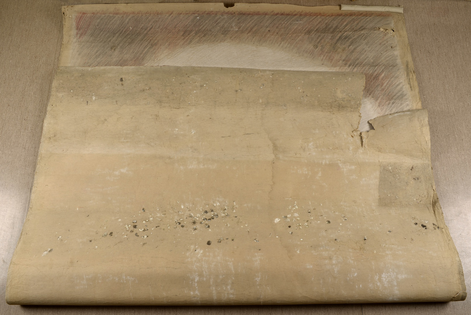 fig 1. The large drawing arrived at the Kanut rolled up, the surface covered with a considerable layer of dirt.