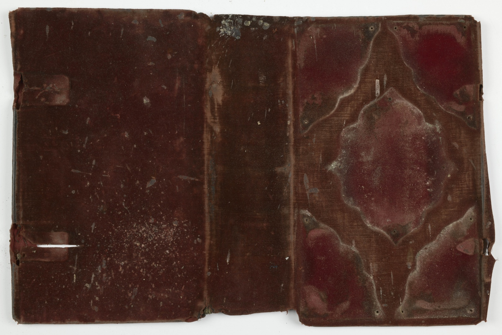 ill 26. The covering fabric of the Gospel boards was soiled and faded, the pile of the velvet worn with some holes and rips.