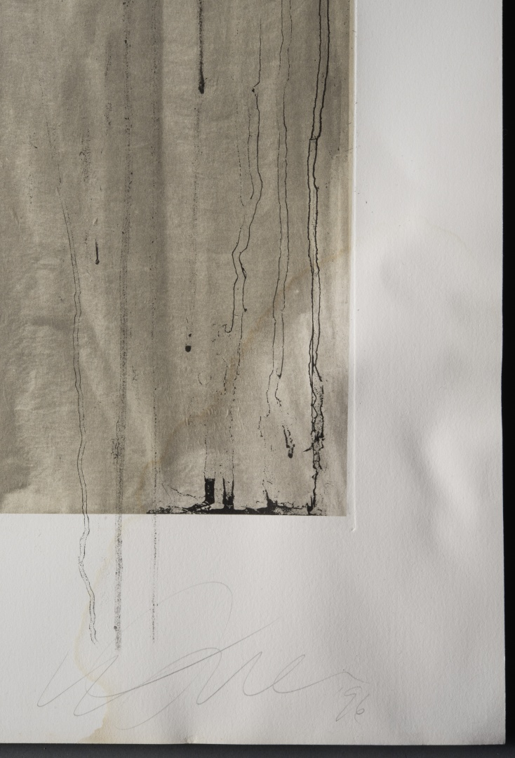 fig 21. Due to water-damage the whole etching was puckering, especially above the flood-lines.