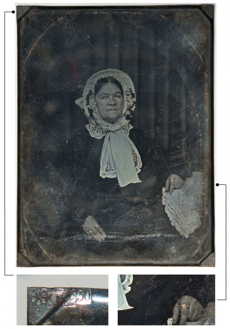 ill 11. Portrait of an unknown woman, about the 1850s. Photographer unknown. In the left-hand upper corner of the daguerreotype the imprint with a hallmark and the contents of silver can be seen and the rings bear gilded retouch. Järvamaa Local History Museum, PM F 23