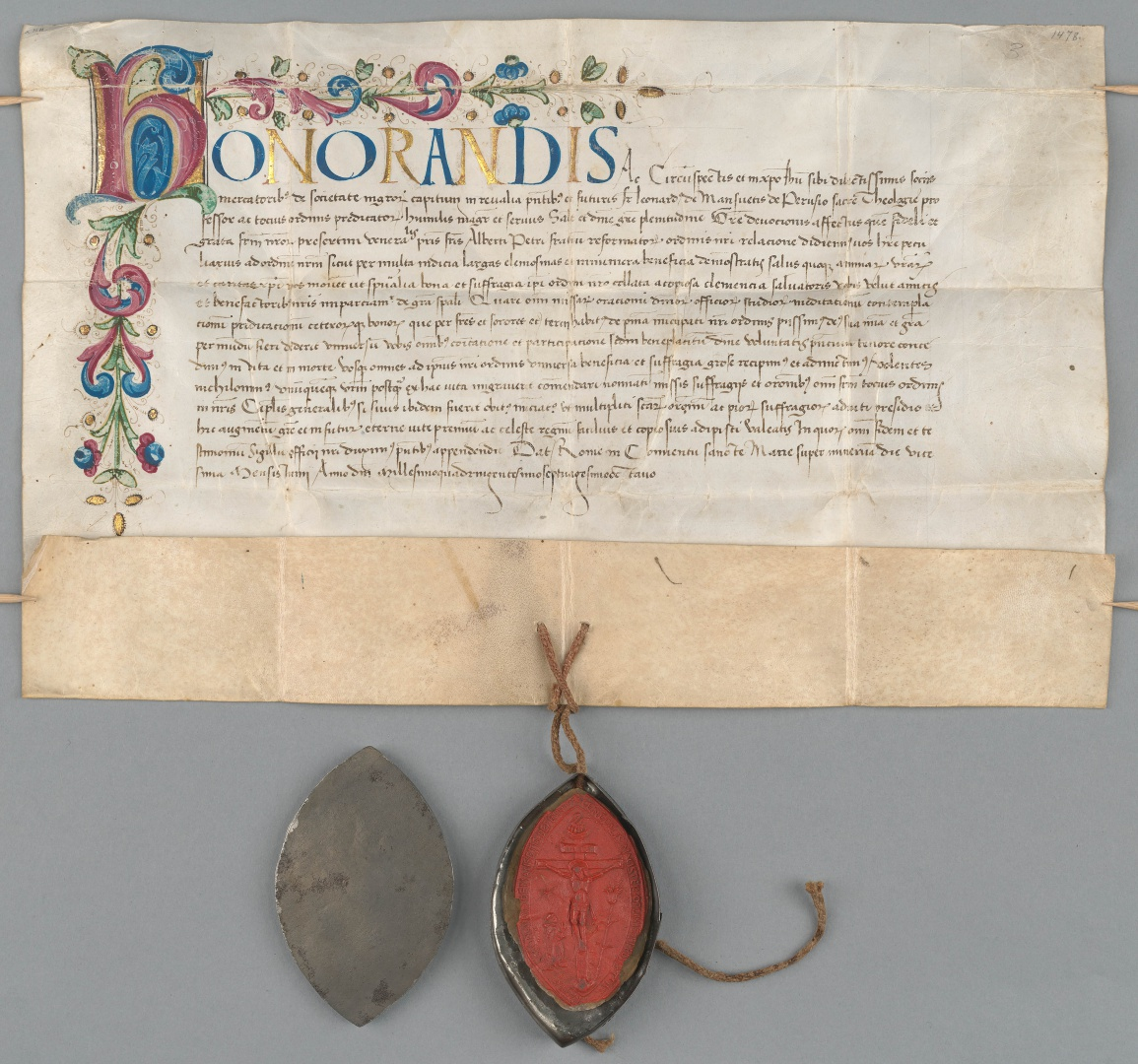fig 10. Document of the Tallinn Fraternity of Black Heads, 1478, TLA.87.1.91.