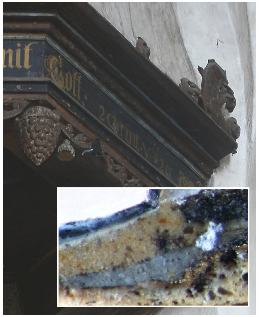 ill 14. Paint proof was taken from the right-side facet, beneath the text on the black slat.  Layers of paint – black paint – grain – grey – gilt – priming.