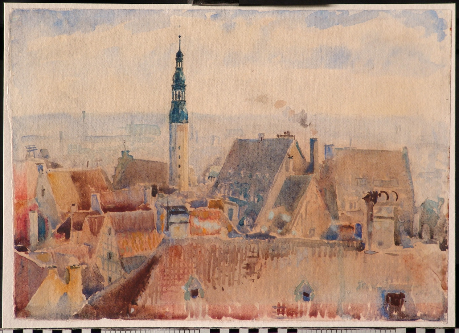 ill 1. Tallinn – watercolour by K. Burman. Damage – the part of the watercolour with no passe-partout has faded.