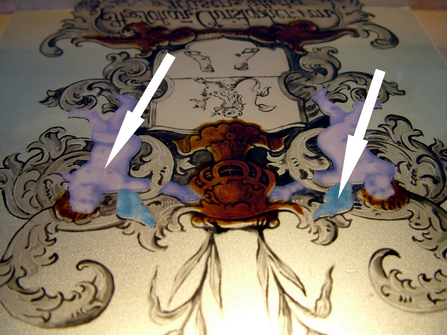ill 22. Making a copy. Brush-painted angels' body tone and copper-green wings on the reverse side of the glass.