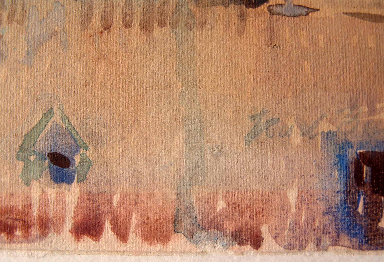 ill 2. Detail photo. Watercolour Tallinn by K. Burman. Photographing in visible light shows the line of fading clearly.
