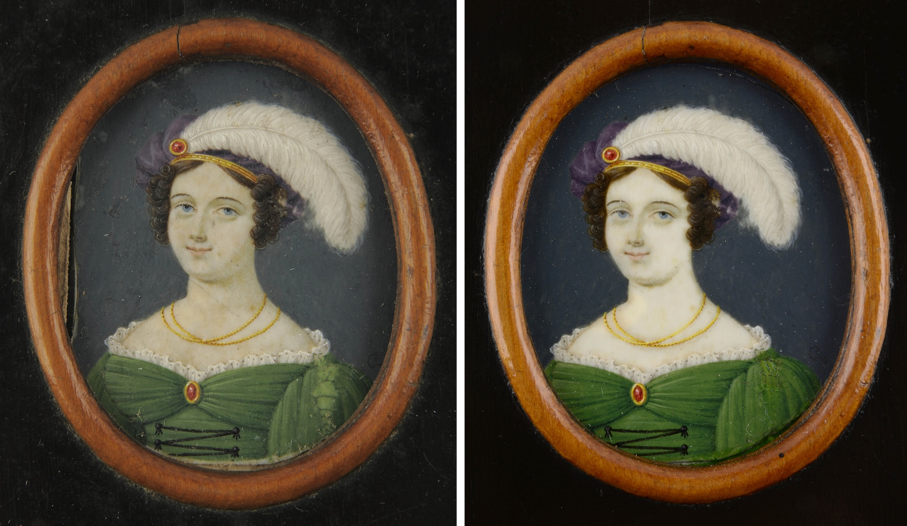 ill 3. Sara Magdalena Paetzen's portrait 5.0 × 4.5 cm (VM VM 4386 K). Bone, gouache. On the left (before conservation) - the left edge of the bone plate of the miniature was ca 0.3 cm broken and had been supported with paper. The surface of the painting was dirty and losses of paint occurred. On the right - the miniature after conservation.