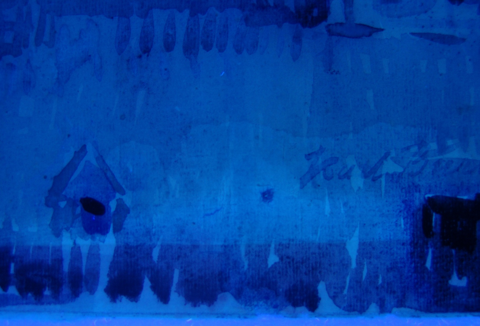 ill 3. Detail photo. Watercolour Tallinn by K. Burman. Photographing in the UV light shows the line of fading clearly.