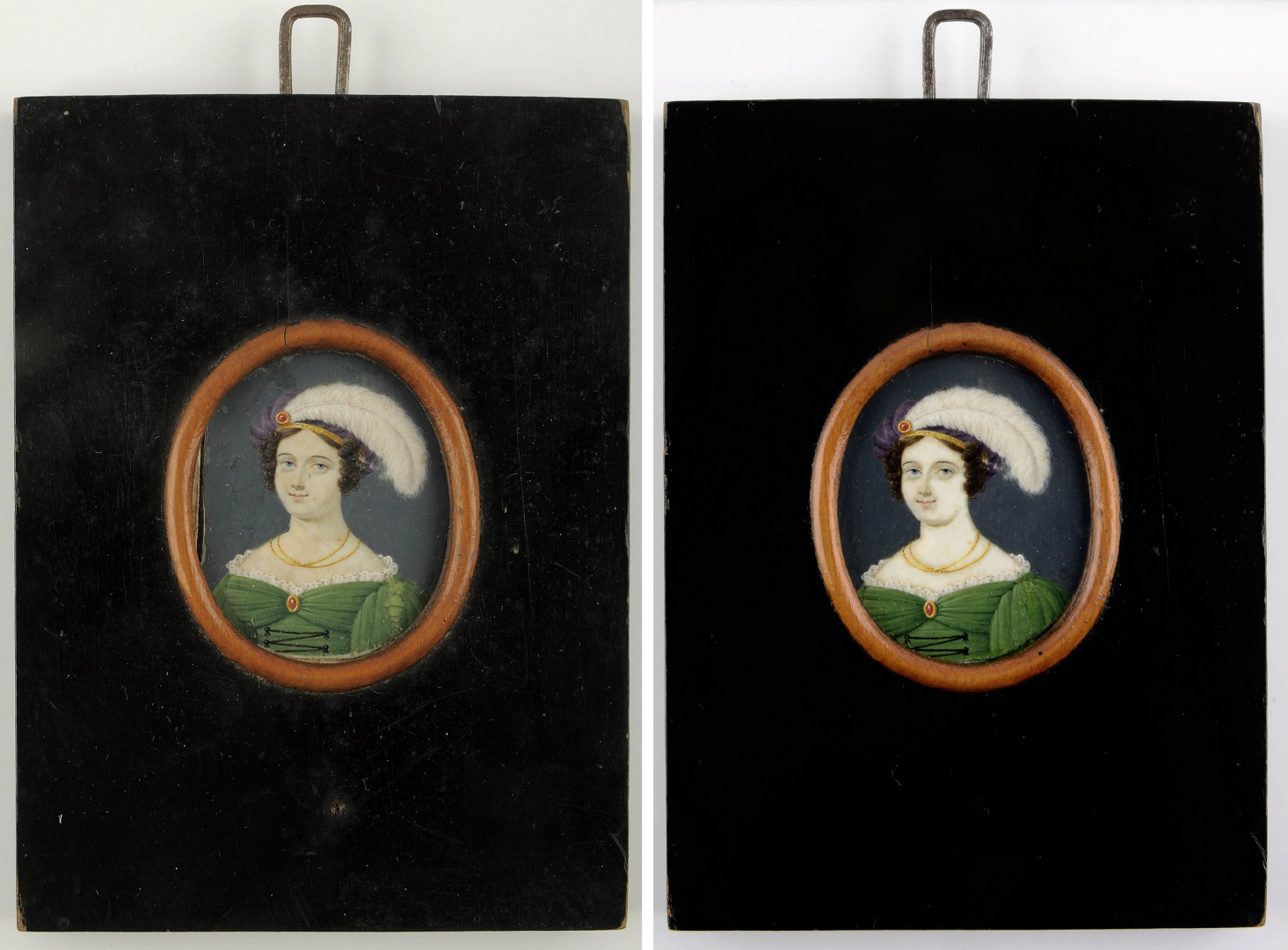 ill 4. The original shape and design of the frame of Sara Magdalena Paetzen's portrait were used as a model for making frames of the other miniatures.  The miniature before (on the left) and after conservation (on the right).