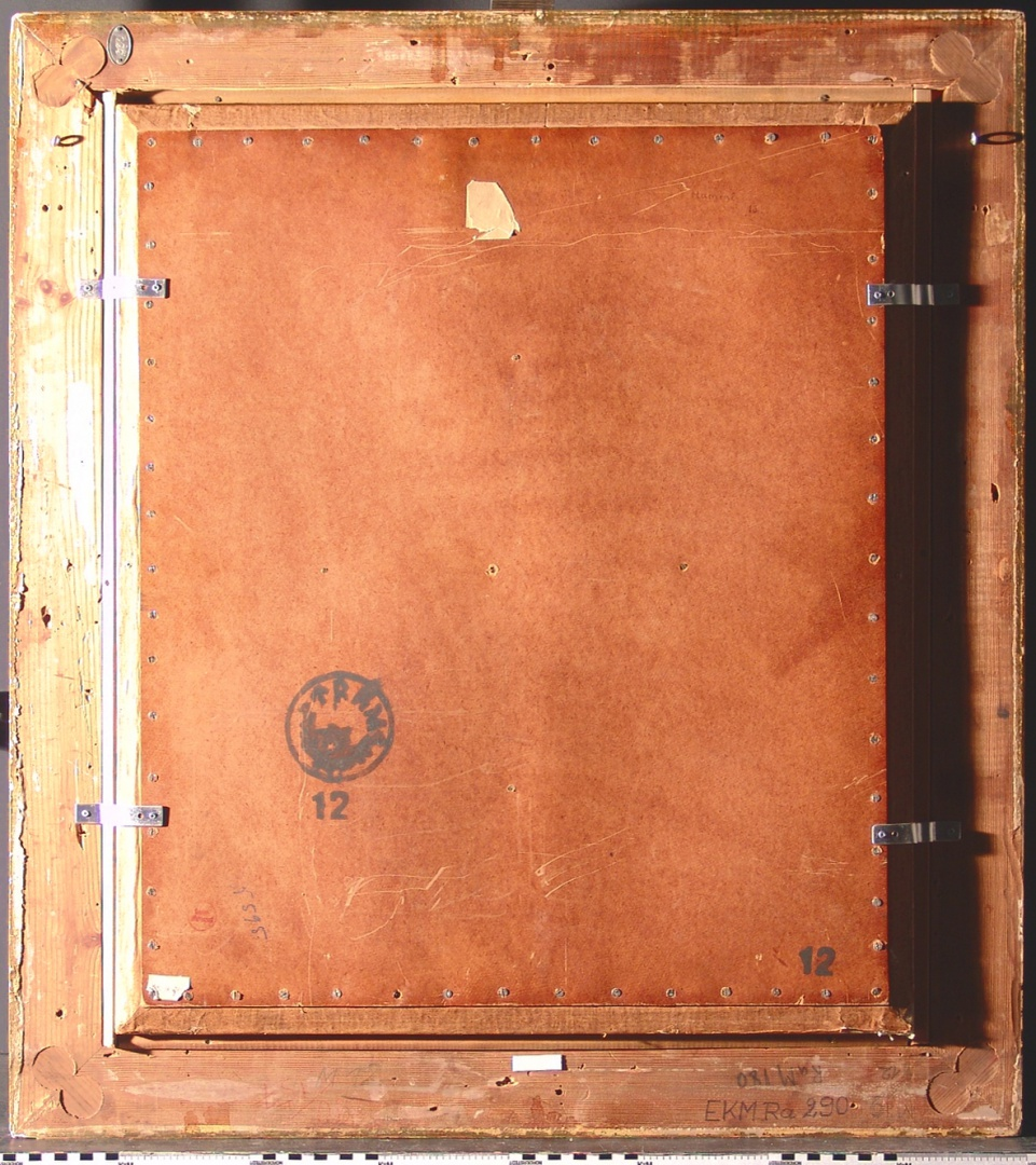 ill 4. Forming of the reverse side. The painting has been covered with oiled cardboard that has been fastened to the base frame.