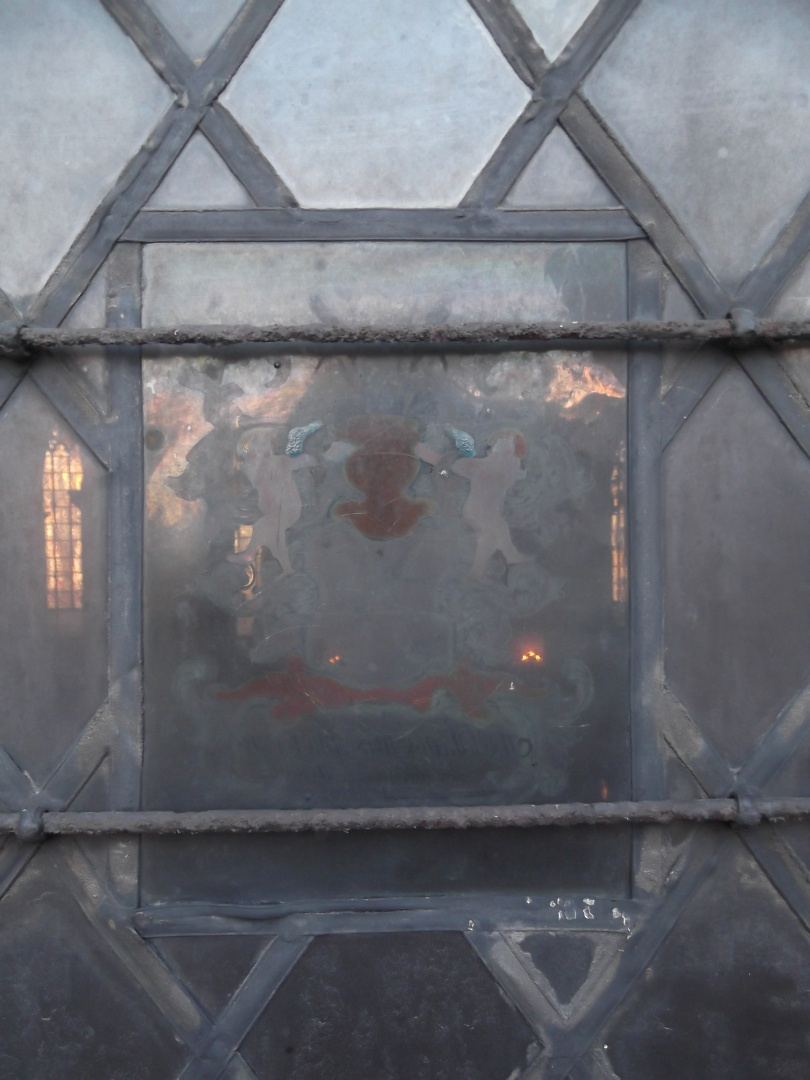 ill 4. Johan Christopher von Husen's coat of arms painting (1753) before the removal from the window.