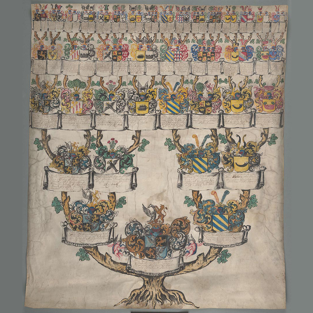 fig 7. Genealogy table of the Tiesenhausens on parchment, AM.135.4.166.