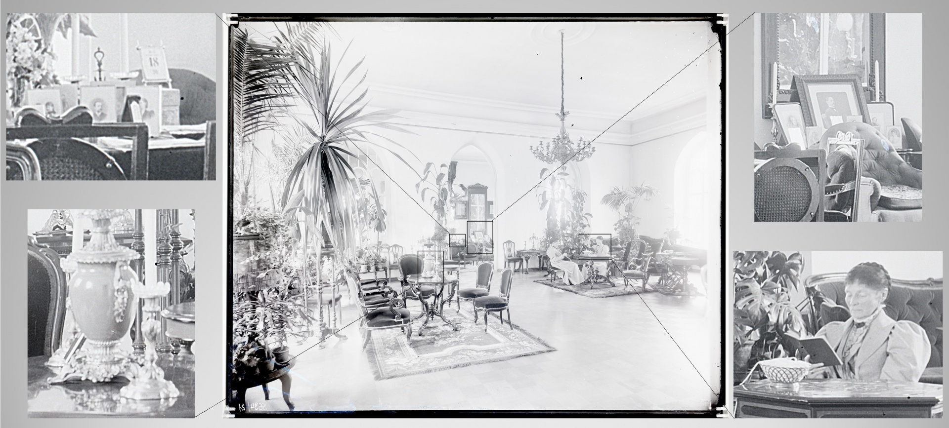 fig 8. The quality of the positive copy of a value-based digitised glass negative gives an opportunity to differentiate in detail what was photographed. The interior of Kukulinna Manor in the early 20th century. AM. 8631.
