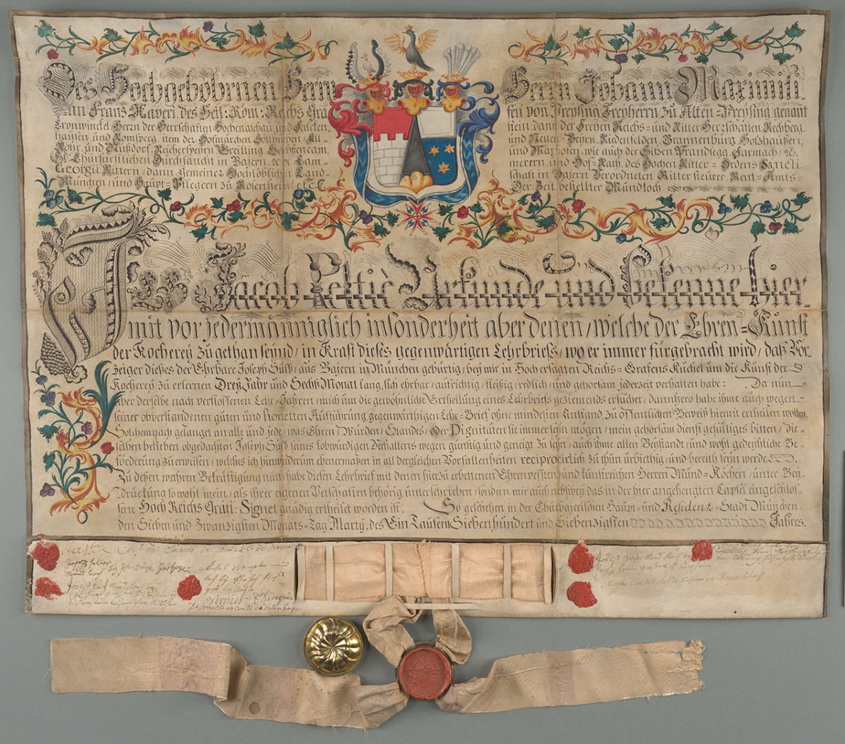 fig 9. Cookery journeyman's certificate issued to Joseph Süss in 1770 by Jacob Peltie, the chef of  Freysing Count and Old Preising Baron Johann Maximilian Franz Xaver, AM.115.2.32.