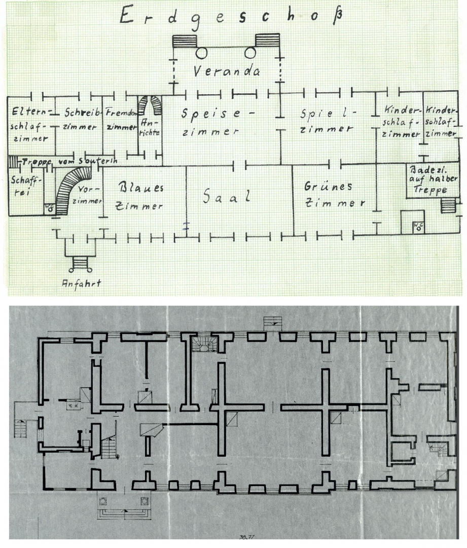 ill 11. Above: Plan of the manor and description of the rooms, a supplement to the diary of  von Krüdeners. The plan was drawn by memory of Verena von Krüdener (Lüers) in 1984. The photo from private collection. Below: Plan of inventory of the Uue-Suislepa manorial estate, 14 December 1983. ERA. T-76.1.15586