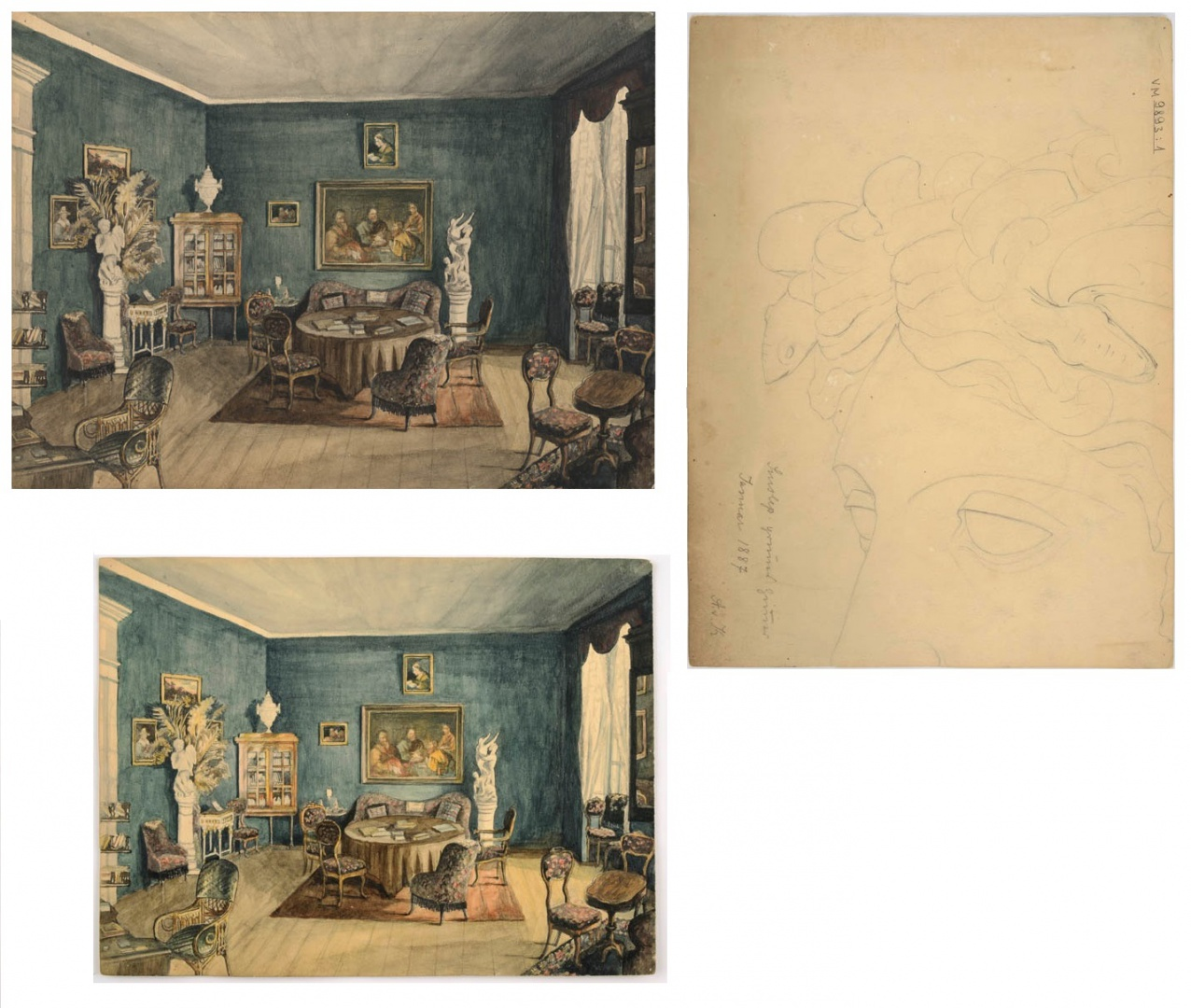 ill 29. Above the watercolour before conservation, below after conservation. On the right – a sketch ofMedusa's head drawn on the back of the watercolour. Photo – Kanut.