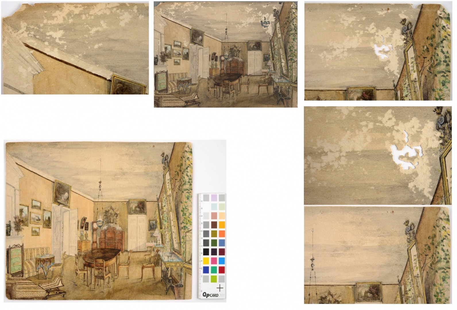 ill 30. Above in the centre the watercolour before conservation and below after it. The holes in the paper(on the left and right above) were under-set with special repair paper and filled with a mixture from an adhesive and cellulose powder on the surface of the watercolour, then toned with watercolours (below, on the left).Photo – Kanut.