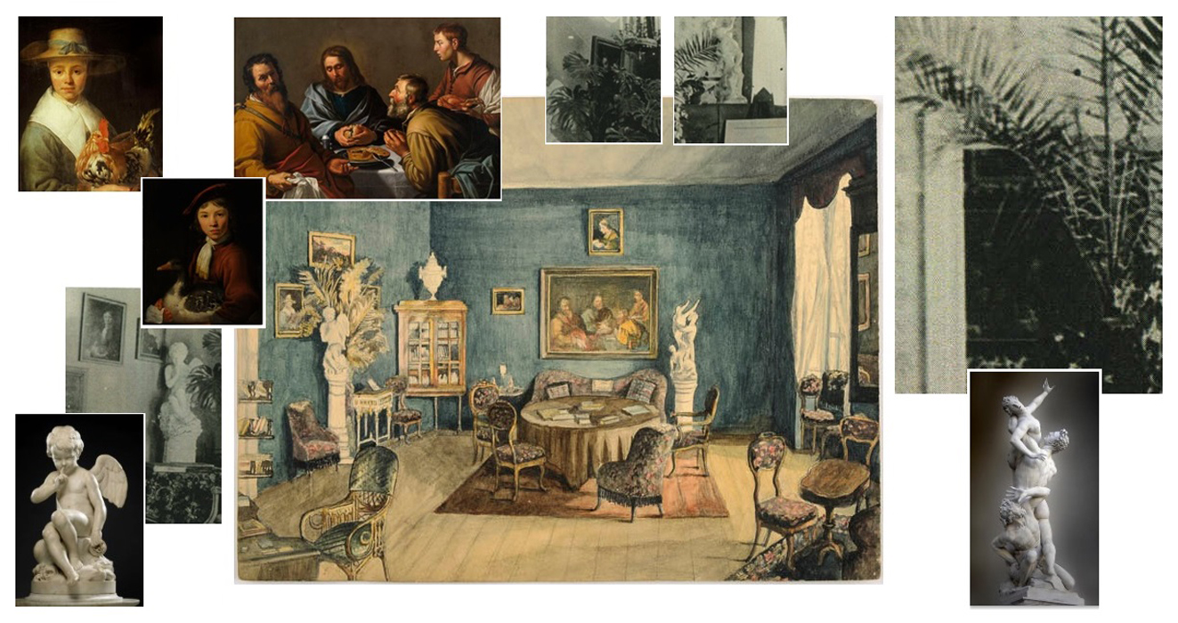ill 33. The paintings and sculptural figures that can be seen in the watercolour have been either shifted from their places or moved to different rooms. The sculptural group Rape of the Sabine Women by Giambologna on the right was taken into the hall and the figure Amor seated by Etienne Maurice Falconet on the left into the Blue salon.