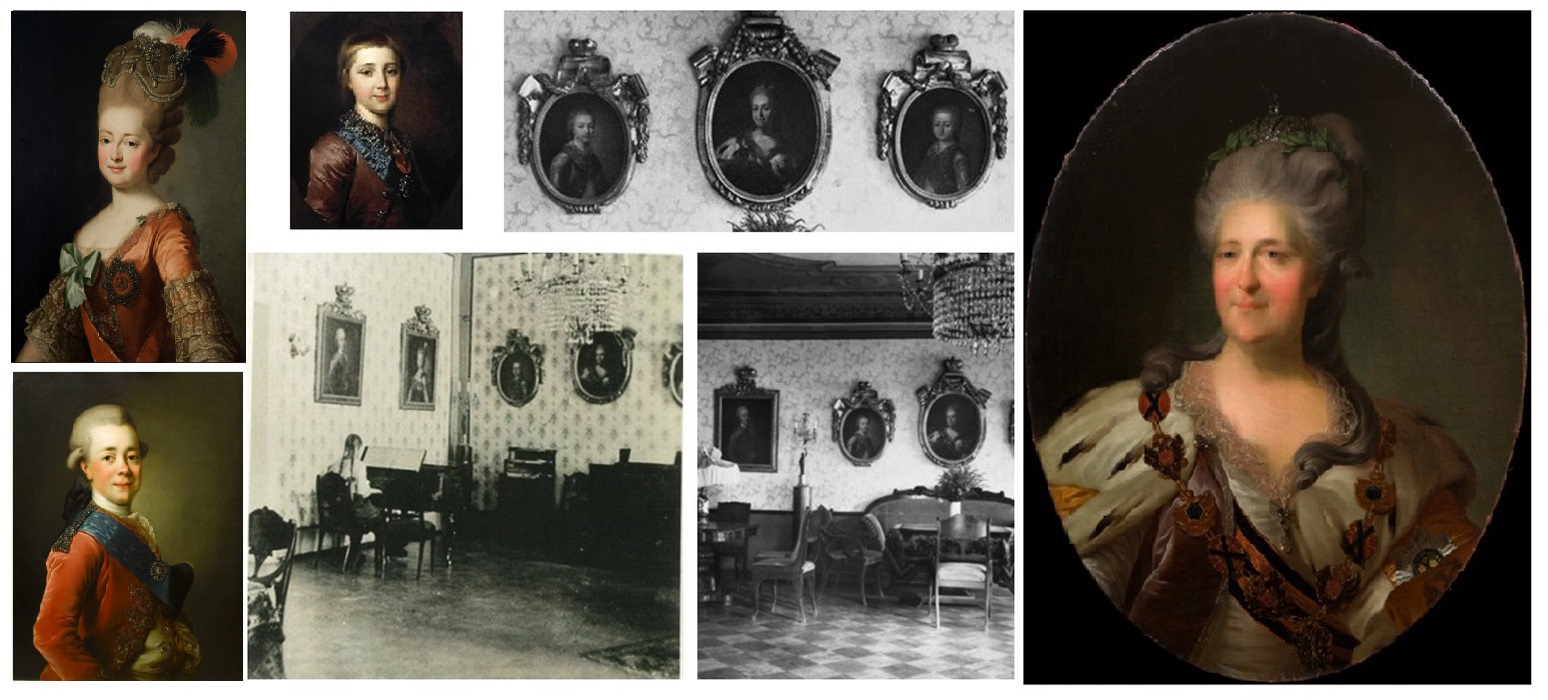 ill 34. The portraits in the hall have been painted after well known masters' work. The portrait of Catherine II was painted after F. Rokotov, the portraits of Emperor Paul I and Empress Maria Fyodorovna after A. Roslin; Alexander Pavlovich as a child and possibly Konstantin Pavlovich as a child after the paintings by D. Levitski.