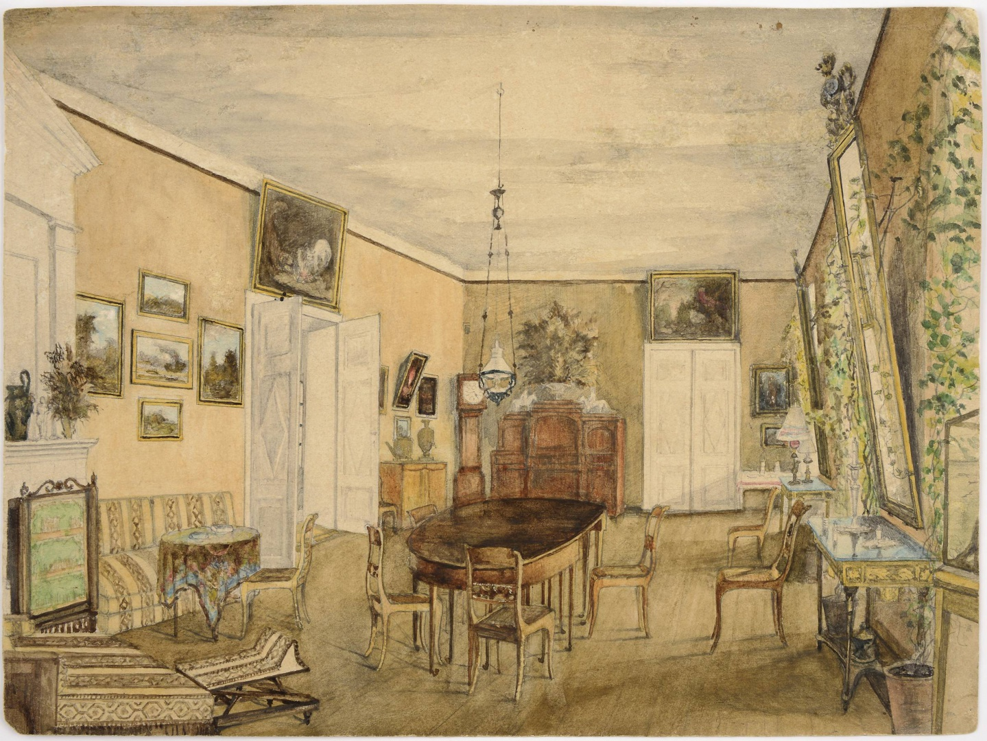 ill 6. Watercolour by Anna von Krüdener depicting the dining room of Uue-Suislepa Manor. VM 9893:2. Conserved in 2015 by Tea Shumanov (Kanut). Photo – Kanut.