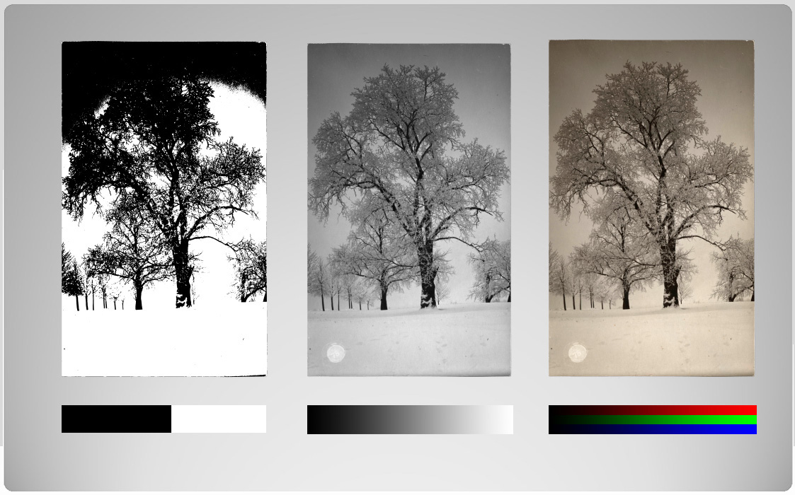 ill 8. Colour bit depth. The image on the left in two colours - black and white, the middle image in 8-bit grey scale, the coloured image three 8-bit colour channels or with 24 bit.