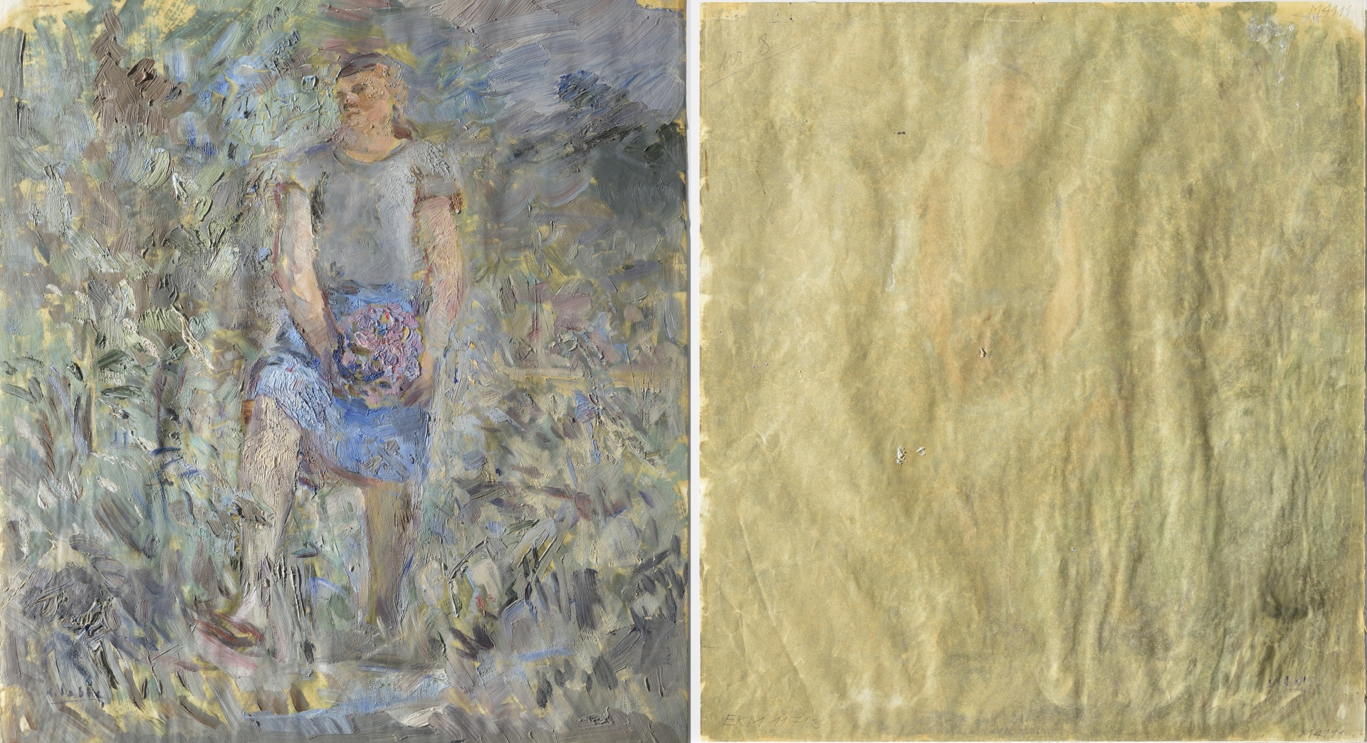 fig 1. A.Vabbe Woman in Landscape, 1936. EKM M 4111. Front and back sides. Thin (0.09mm) and extremely fragile paper of deciduous trees cellulose (with addition of flax and hemp fibres), no lignin. Slight shedding of paint and losses on tops of the break-lines. Photo Stanislav Stepashko