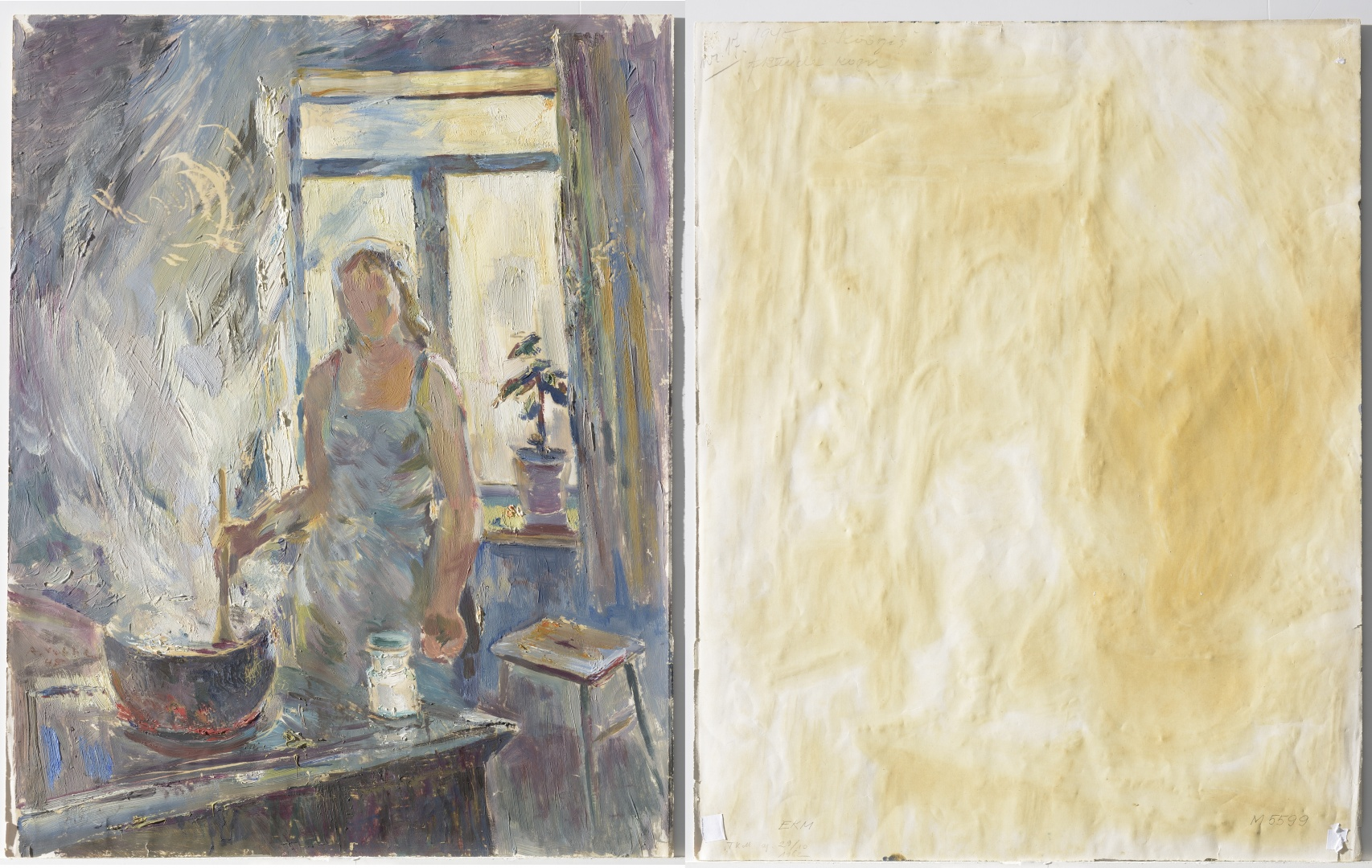 fig 7. A. Vabbe In the kitchen, 1945. EKM M 5599. Front and back sides of the painting. The paper (0.13mm thick) that contains lignin has been grounded with chalky layer on both, recto- and verso-sides.. The oil paint has adhered well on paper.