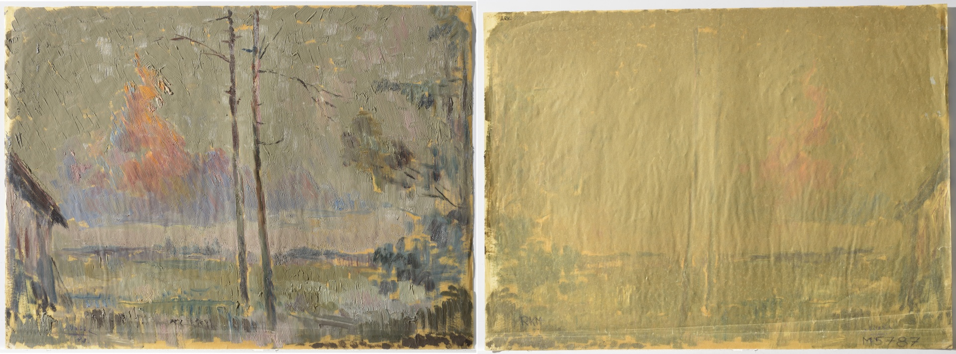 fig 8. A.Vabbe Swamp landscape , 1943. EKM M 5787. Front and back sides of the painting. The paper is thin (0.09mm), fragile, leathery and totally soaked through with oil. No lignin. Adhesion of the oil paint on paper was good but a few losses were detected on the crests of breaking lines.