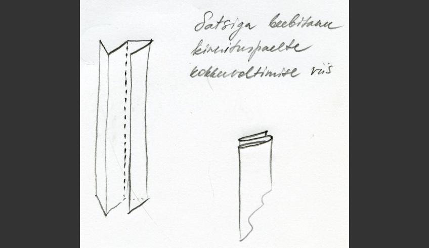 fig 11. Cap 1. The tying ribbon has been made of non-bordered fabric that has been folded length-wise. Liili Aasma's working sketch.