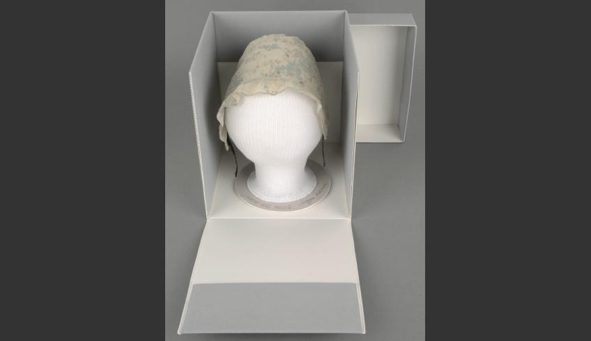 fig 42. Cap 1. The cap on the shape within the archive-safe-material box has been prepared for a long-time storing.