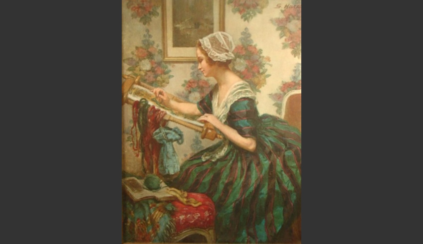 fig 56. A woman embroidering. http://www.liveauctioneers.com/item/1635545, April 2018.