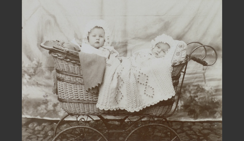 fig 65. Twins Klaara and Linda in their flounced baby bonnets. ERM Fk 170:22 Photo G. Münther 1910.