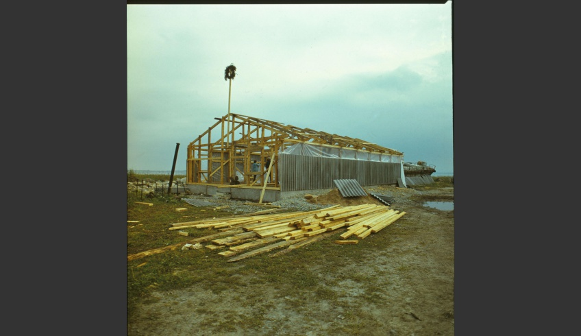 ill 1. Construction of the conservation building in August 1987.
