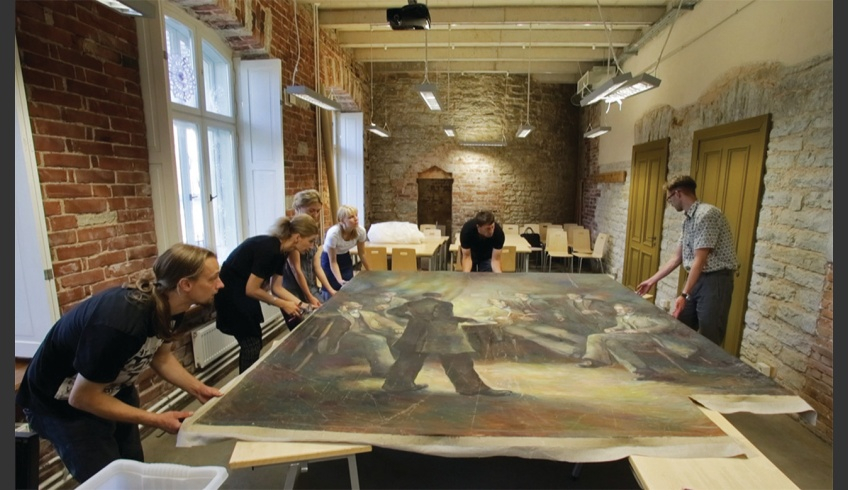 fig 11. Conservation of the wholly survived triptych part Kalevipoeg Evenings in the Heritage Protection and Conservation Department of the Estonian Academy of Art (in 2015). Photo: Villu Plink