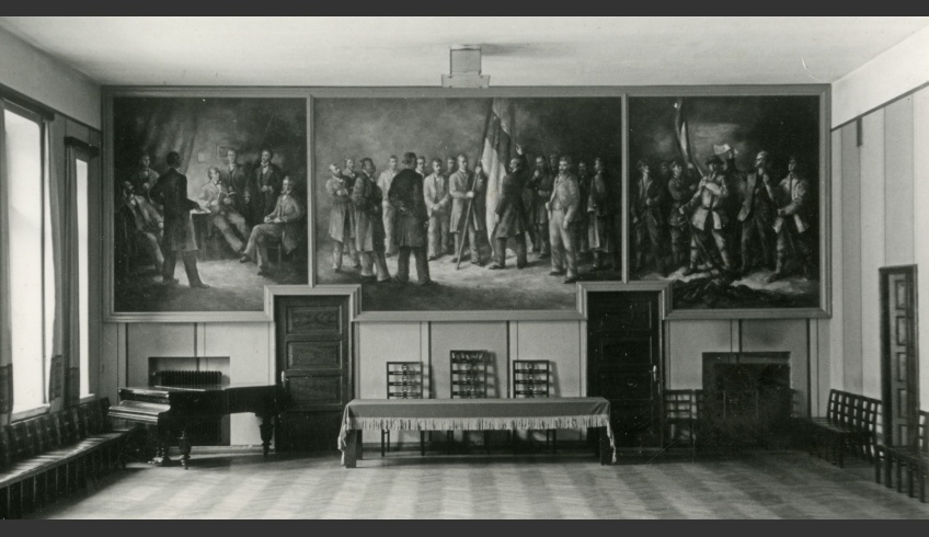 fig 1. Mural on the wall of the Estonian Student Society's hall, 1938. Photo: Estonian National Archive EAA.2111.1.15600.6.