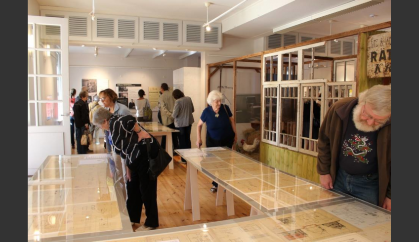 fig 2. The opening of the exhibition – Keila is building. The birth of a township – at the Harju County Museum. The collection of Keila house-plans built in the 1920s up to the 1940s. The collection has been made up of drawings and copies in various techniques.