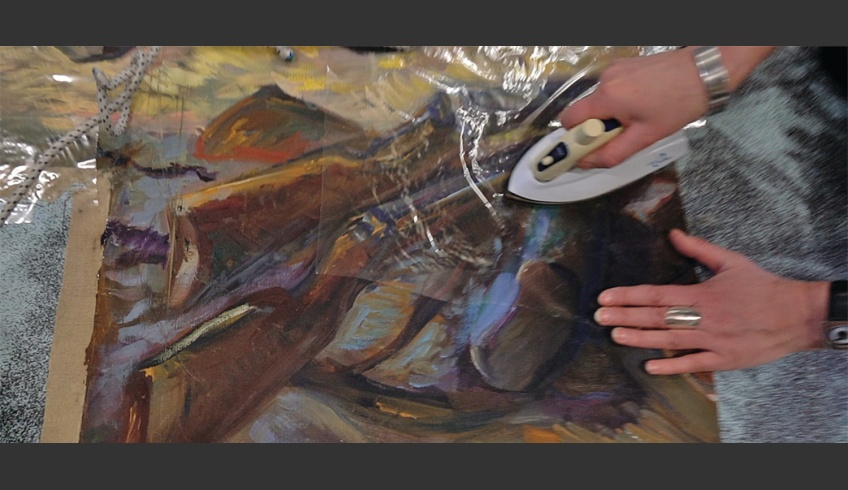 fig 24. Planting the preserved fragments of the paintings Blessing of the Flag and Going to the War of Independence on the photo-canvas and the reconstruction of the whole mural at the Estonian Academy of Art in March 2018. Photo: Villu Plink
