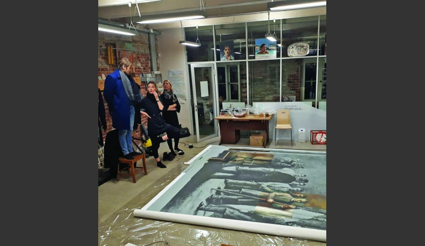 fig 26. Planting the preserved fragments of the paintings Blessing of the Flag and Going to the War of Independence on the photo-canvas and the reconstruction of the whole mural at the Estonian Academy of Art in March 2018. Photo: Villu Plink