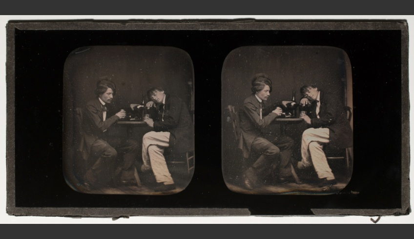 ill 10. A staged drinking spree, about the 1840-1850s. Photographer unknown. Paper-framed stereo-daguerreotype (83 x 170 x 5 mm). Photo collection of Tartu University library, F 169, S 5
