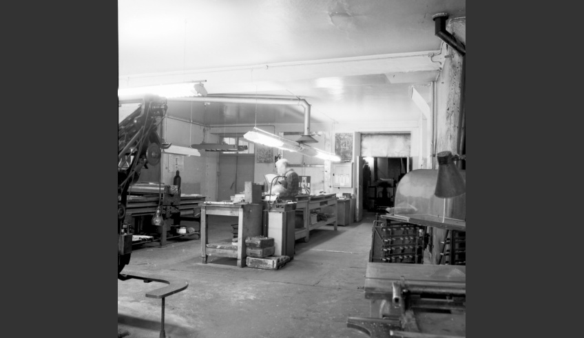 fig 2. View of a workspace in the printing-house Kommunist