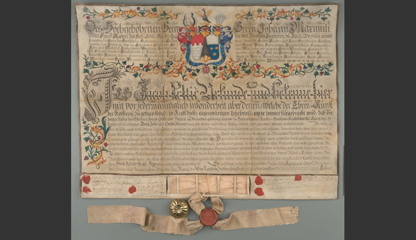 fig 9. The high technical level of parchment digitisation offers an opportunity to examine materials and their properties in detail. In addition to details it also enables us to enjoy the tonality and transference of colours so close to the original. AM.115.2.32.