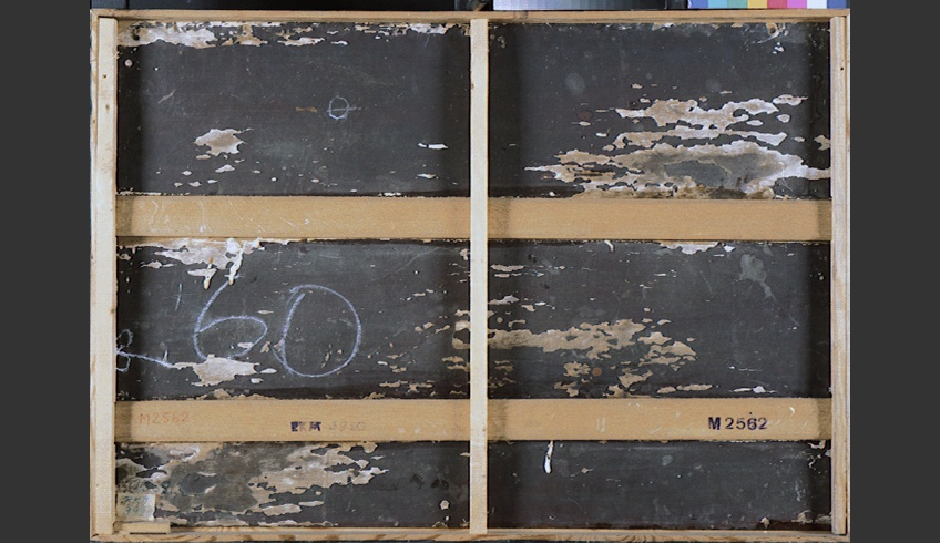 ill 10. Primed and painted reverse side of the painting (C. Mahu, Wedding-dance in a store. VM488).