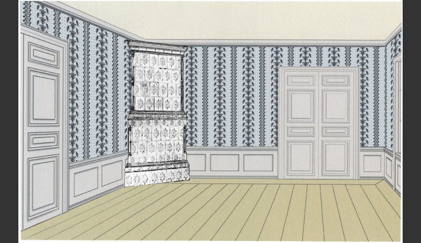 ill 11. The wallpaper might match a Biedermeier interior, as it imitates the period's silk or cotton fabrics in design.