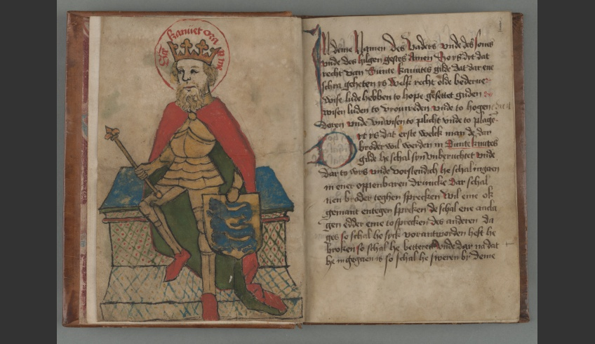 fig 1. Image of St Canute on the oldest preserved document – the first page of the skraa (the statute) of St Canute's Guild. The halo around the saint's head bears the inscription – sancte Kanuet ora pro me (Saint Canute, pray for me!). The pen-and-ink drawing dates from about 1486.