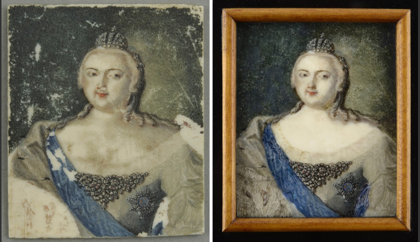 ill 1. Miniature portrait (6.2 x 5.2 cm) of Empress Jelizaveta Petrovna in full dress (VM VM4384 K). Bone, gouache. On the left (before conservation) - a serious damage of painted surface occurred in the lower left-hand corner, smaller losses of paint were all over the surface. The piece was without frame.  On the right (after conservation) - the losses of paint were toned with water-colours and the piece was framed.