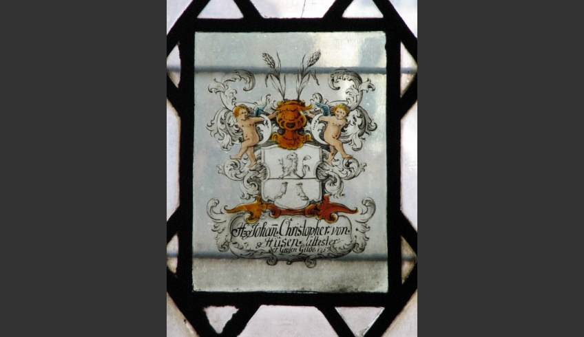 ill 1. Johan Christopher von Husen's coat of arms painting (1753) located in the northern window of Tallinn St Olaf's Church, 2007.