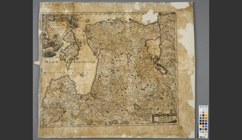 ill 20. The map after being conserved. The paper was glued with 0.5% gelatinous solution and the repairs were done on the light-table.