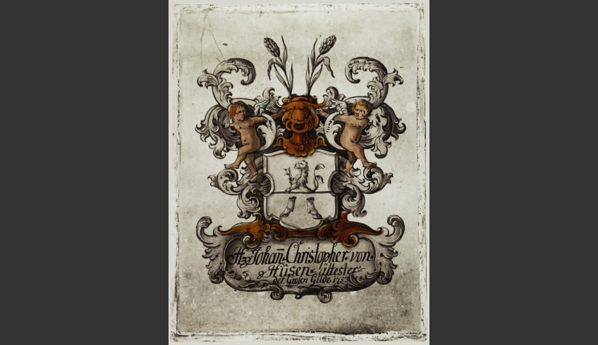 ill 25. Johan Christopher von Husen's coat of arms painting (1753) after conservation.
